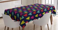 Rengarenk Kalp Temalı Masa Örtüsü Siyah Kırmızı Sarı