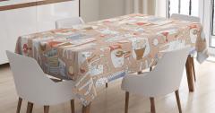 Çocuklar için Masa Örtüsü Kedi Desenli Somon Renkli