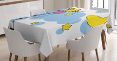 Yıldız ve Kız Desenli Masa Örtüsü Çocuklar İçin Mavi