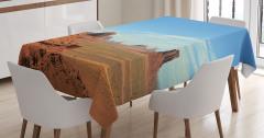 Çöl ve Gökyüzü Temalı Masa Örtüsü Kahverengi Mavi