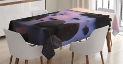 Büyüleyici Göl Manzaralı Masa Örtüsü Kayalıklar Mor