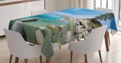 Göl Kenarında Gezinti Temalı Masa Örtüsü Karlı Dağ