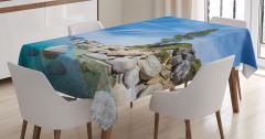 Göl Kıyısı Manzaralı Masa Örtüsü Kayalıklar Mavi