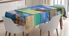 Yaz Tatili Temalı Masa Örtüsü Deniz Kum Güneş Mavi