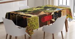 Şarap Temalı Masa Örtüsü Üzüm Kırmızı Şişe Kadeh