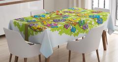 Çocuklar için Masa Örtüsü Rengarenk Sevimli Baykuş