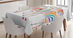 Çocuklar için Masa Örtüsü Rengarenk Sevimli Zebra