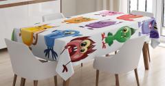 Çocuklar için Masa Örtüsü Rengarenk Sevimli Canavar