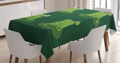 Çocuklar için Masa Örtüsü Sevimli Yeşil Kurbağa