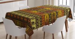 Afrika Etnik Desenli Masa Örtüsü Kahverengi Turuncu