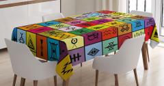 Afrika Etnik Desenli Masa Örtüsü Rengarenk Semboller
