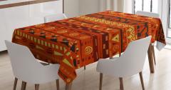 Antik Afrika Desenli Masa Örtüsü Turuncu Sarı
