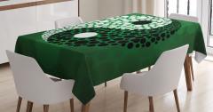 Yeşil Fon Yin Yang Desenli Masa Örtüsü Siyah Beyaz
