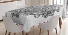 Siyah Beyaz Geometrik Desenli Masa Örtüsü Modern
