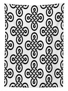 Kelt Geometrik Düğüm Desenli Masa Örtüsü Siyah Beyaz