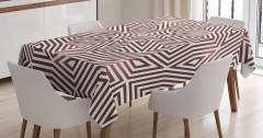 Kahverengi Geometrik Desenli Masa Örtüsü Şık Tasarım