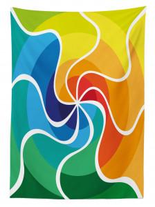 Rengarenk Girdap Desenli Masa Örtüsü Şık Tasarım