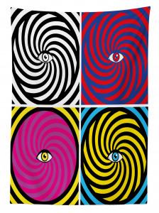 Rengarenk Girdap ve Göz Desenli Masa Örtüsü Modern