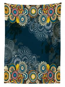 Rengarenk Şal Tarzı Çiçek Desenli Masa Örtüsü Mavi