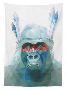 Mavi Kristal Maymun Desenli Masa Örtüsü Dekoratif