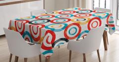 Rengarenk Çember Desenli Masa Örtüsü Beyaz Gri Fonlu
