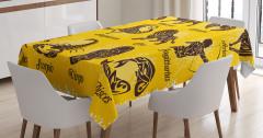Kahverengi Burç Desenli Masa Örtüsü Sarı Arka Planlı