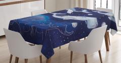 Balina Takım Yıldızı ve Fil Desenli Masa Örtüsü Mavi