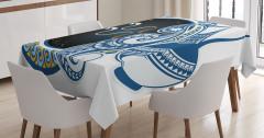 Kova Burcu Desenli Masa Örtüsü Sarı Mavi Lacivert