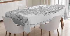 Siyah Beyaz Aslan Burcu Desenli Masa Örtüsü Çiçekli