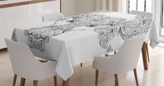 Çiçekli Boğa Burcu Desenli Masa Örtüsü Siyah Beyaz