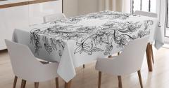 Siyah Beyaz Balık Burcu Desenli Masa Örtüsü Çiçekli