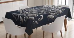 Çiçekli Kova Burcu Desenli Masa Örtüsü Lacivert Fon