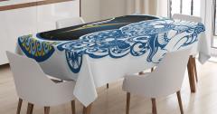 Koç Burcu Desenli Masa Örtüsü Mavi Sarı ve Lacivert