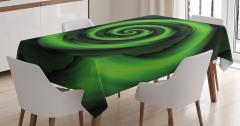 Sarı Yeşil Girdap Desenli Masa Örtüsü Şık Tasarım