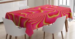 Pembe ve Sarı Girdap Desenli Masa Örtüsü Dekoratif