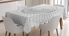 Siyah Beyaz Girdap Desenli Masa Örtüsü Kabuk Şekilli