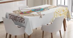 Yoga ve Rengarenk Kız Desenli Masa Örtüsü Krem Beyaz