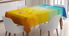Sarı Mavi Meditasyon Desenli Masa Örtüsü Çakralı