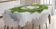 3D Etkili Yeşil Çakra Desenli Masa Örtüsü Beyaz Fon