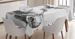 Siyah Beyaz Masa Örtüsü Cadılar Bayramı Yarasa Kemik