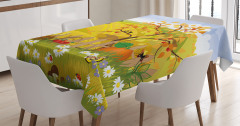 Çocuklar için Masa Örtüsü Rengarenk Bahar Temalı