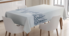 Beyaz Masa Örtüsü Romantik Kar Yağışı Manzaralı