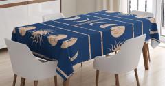 Lacivert Masa Örtüsü Bej Şık Güneş ve Ay Figürleri