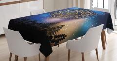 Mistik Simgeli Masa Örtüsü Siyah Mavi Şık Tasarım