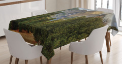 Şelale Manzaralı Masa Örtüsü Dağ Orman Yeşil Doğa