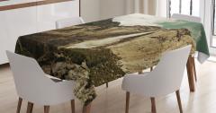 Şelale Manzaralı Masa Örtüsü Dağ Doğa Kahverengi