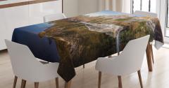 Göl Manzaralı Masa Örtüsü Yeşil Mavi Dağ Ağaç Doğa