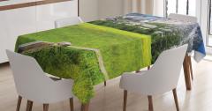 Şelale Manzaralı Masa Örtüsü Ağaç Yeşil Dağ Doğa
