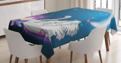 Kuğu ve Zambak Desenli Masa Örtüsü Ay Yıldızlar Mavi