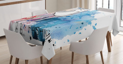 Elbiseli Kız Desenli Masa Örtüsü Mavi Sulu Boya